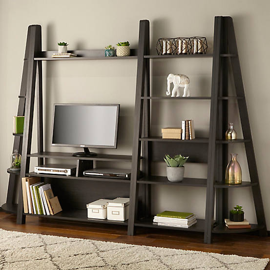 A TV ladder entertainment and shelf space set up for small living rooms