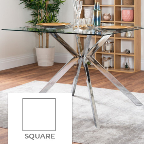an example square dining table with a glass top and chrome legs in a modern house