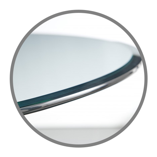 close up of a glass top round table top