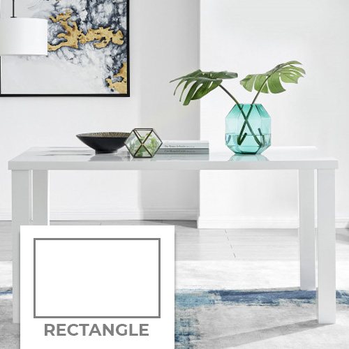 example of a recntagular white gloss dining table in a white modern room