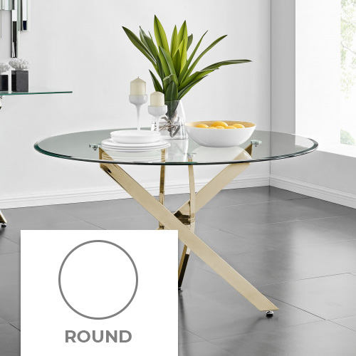 an example of a round glass dining table in a contemporary dining room