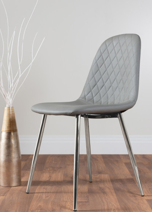 hatched stitching design on a grey faux leather dining chair