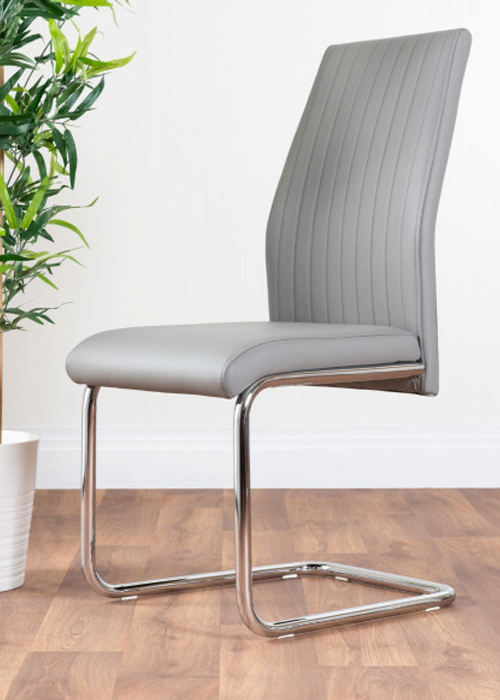 modern grey dining room chair with a subtle striped stitching and chrome curved legs