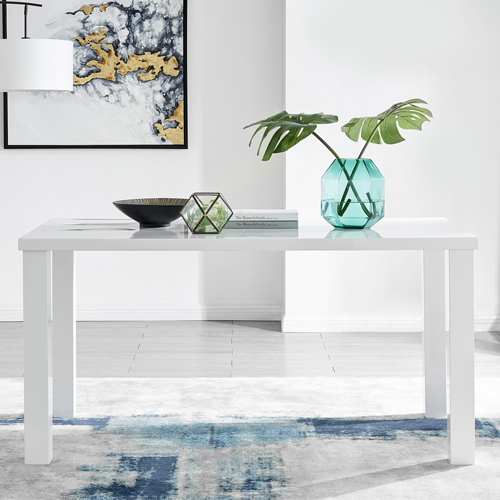white high gloss rectangular dining table with modern dining room accessories