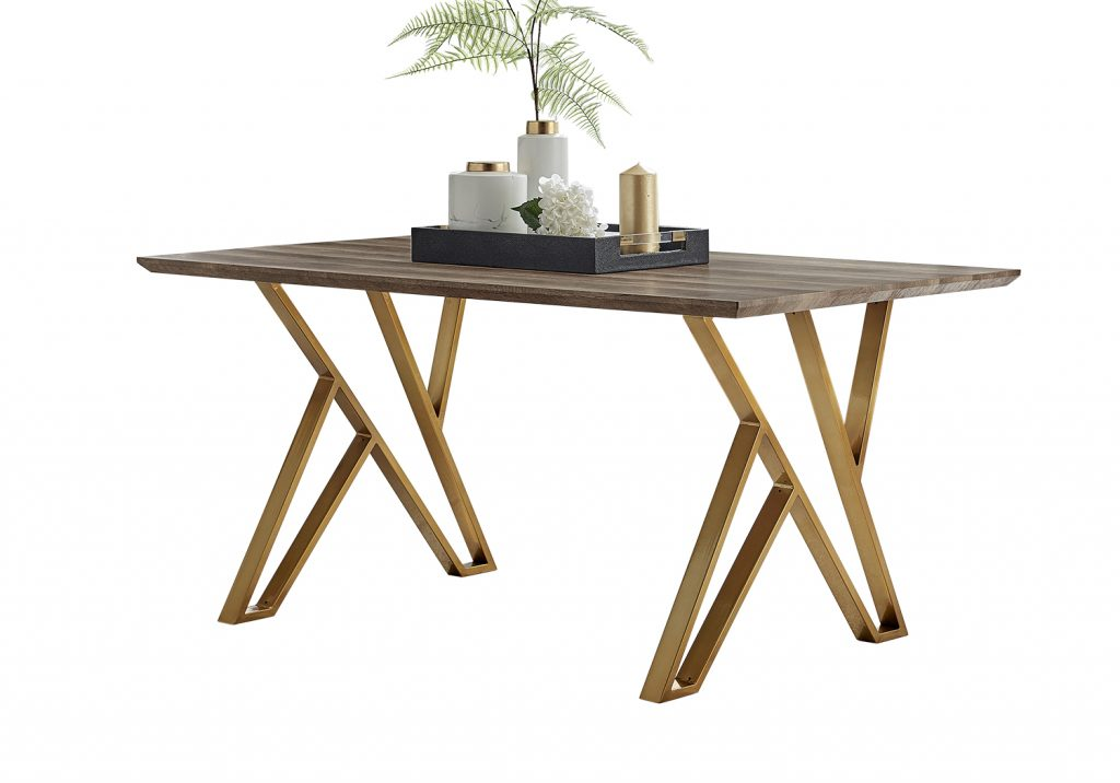 modern wood effect dining table with gold brass legs