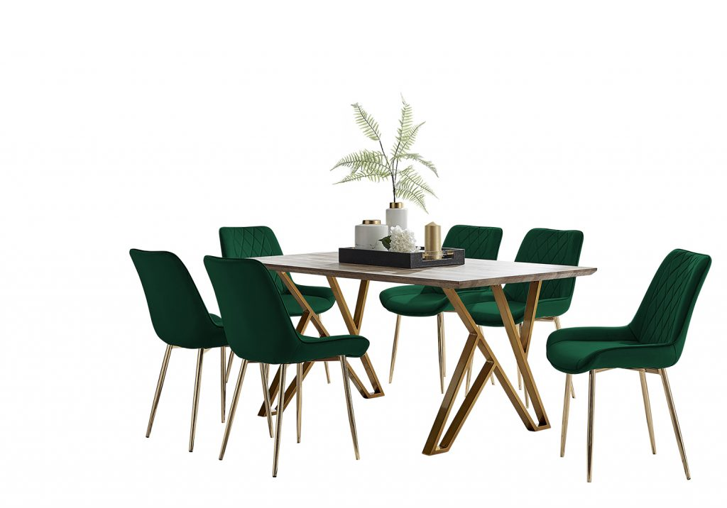 wood effect dining table with 6 green velvet dining chairs