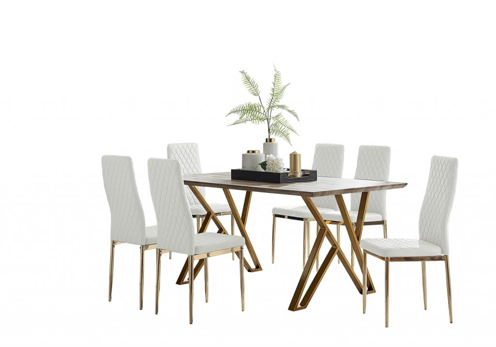 6 white modern dining chairs around a wood effect dining table