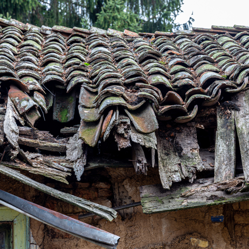A roof in bad condition. Fix the roof to prepare your home for sale