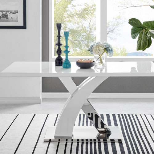 white gloss child friendly dining table in a modern home