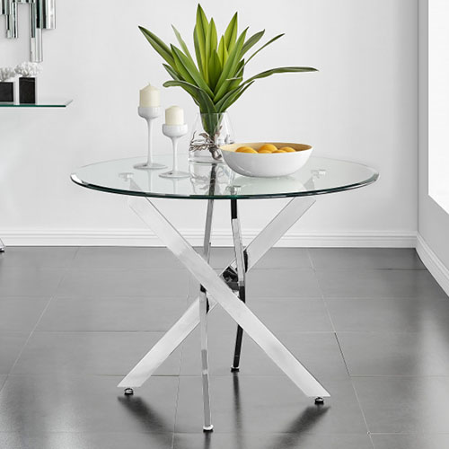 round glass child friendly dining table in a modern dining room