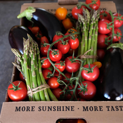 A box filled with fresh vegetables from Sprout and Flower, Mere